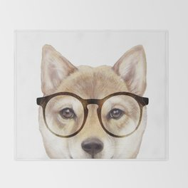 Shiba inu with glasses Dog illustration original painting print Throw Blanket