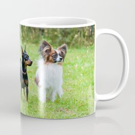 Outdoor portrait of a miniature pinscher and papillon purebreed dogs on the grass Coffee Mug