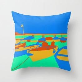 Boats at Lake Garda Throw Pillow