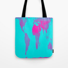 World Map : Gall Peters Turquoise & Pink Tote Bag