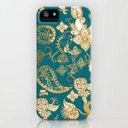Golden Indian henna in green iPhone Case