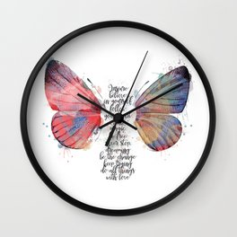 Watercolor Butterfly Believe Inspiration Quote Wall Clock