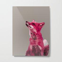 FOX, PINK FOX, PINK FOX WALL ART, CUTE FOX, FOX FACE, FOX IN PINK, WINTER FOX, Metal Print