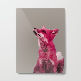 FOX, PINK FOX, PINK FOX WALL ART, CUTE FOX, FOX FACE, FOX IN PINK, WINTER FOX, Metal Print
