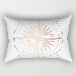 Rose Gold on White Compass Rectangular Pillow