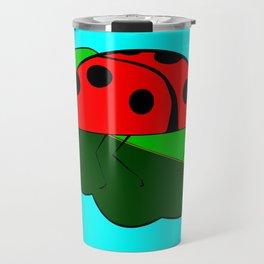 A Ladybug on a Leaf Travel Mug