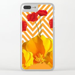 YELLOW & RED  POPPIES MODERN GOLDEN PATTERNS Clear iPhone Case