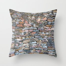 Natural Stone Wall Background Throw Pillow