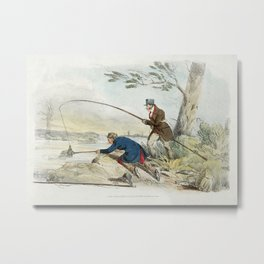 Illustration of fishing from Sporting Sketches (1817-1818) by Henry Alken (1784-1851). Metal Print