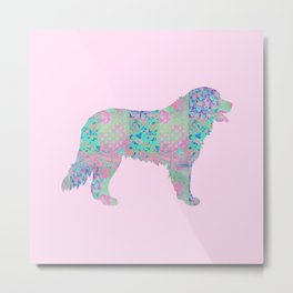 Bernese Mountain Dog Vintage Floral Pattern Pink Blue Turquoise Shabby Chic Metal Print