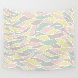 Pastel yellow green coral pink abstract geometric waves Wall Tapestry