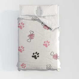 Lovely Dog Bows on Bones in Pretty Pink Comforters