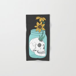 Skull in Jar with Flowers Hand & Bath Towel
