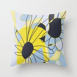 Corn Flower Daises abstract design Throw Pillow