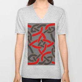 Red Pattern Charcoal Grey Color Celtic Art Unisex V-Neck