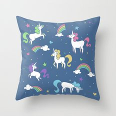 Unicorns and Rainbows - Blue Throw Pillow