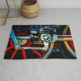 Red Wheels, Crosshead, Rods Of An Ancient Steam Locomotive Engine Rug