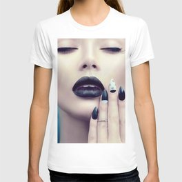 Fashion model girl with trendy gothic black T-shirt