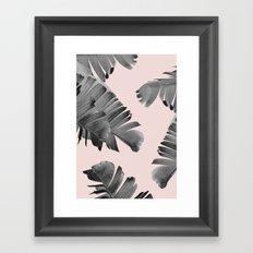 Black and pink palm leaves Framed Art Print