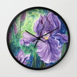 Blooming Purple Iris in magic forest Wall Clock