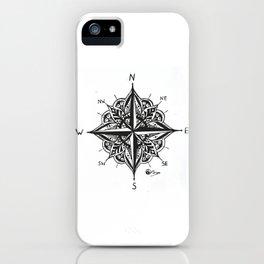 """Mandala Compass Rose"" Original Directional Compass Art iPhone Case"
