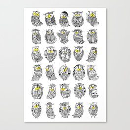 Sleepy Owls Canvas Print