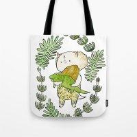 dinosaur Tote Bags featuring Dinosaur  by MAKI