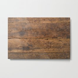 Dark wood weathered texture background surface with old natural. Vintage wooden surface Metal Print