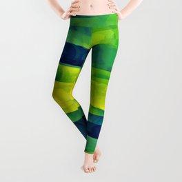 Acid Yellow and Indigo Abstract Leggings