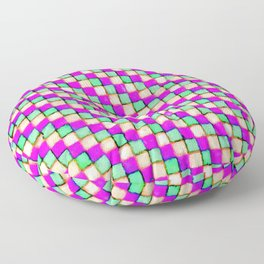 Violet Mint and Coral Patchwork Floor Pillow