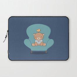 Kawaii Cute Teddy Brown Bear On A Sofa Laptop Sleeve