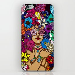 Girl in Precious Gems and Flowers iPhone Skin