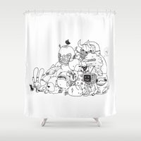 monsters Shower Curtains featuring Monsters by Nate Galbraith