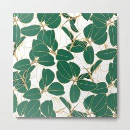 Elegant Green Gold Rubber Plant Foliage White design Metal Print