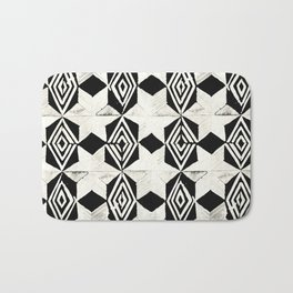Tribal Shibori Stars Black and Cream Bath Mat