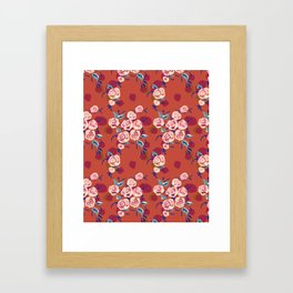 Painty Roses Burnt Orange Framed Art Print