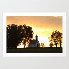 Sunset Church Art Print