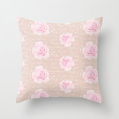Watercolor Roses on Blush with French Script Throw Pillow