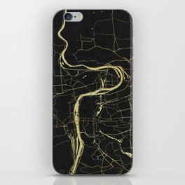 Prague Black and Gold Map iPhone Skin