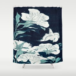 JAPANESE FLOWERS Midnight Blue Teal Shower Curtain