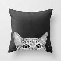 kitty Throw Pillows featuring You asleep yet? by Laura Graves