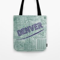 denver Tote Bags featuring Denver by Dweezle