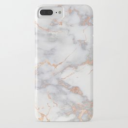Gray Marble Rosegold  Glitter Pink Metallic Foil Style iPhone Case