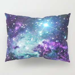 Fox Fur Nebula : Purple Teal Galaxy Pillow Sham