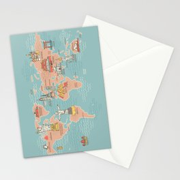 World Map Cartoon Style Stationery Cards