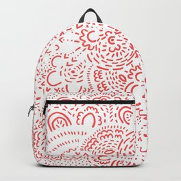Red and White Dash Pattern Backpack