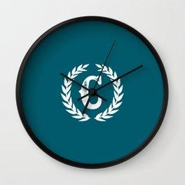 Dark Teal Monogram: Letter C Wall Clock