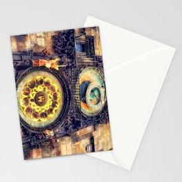 Prague Clock Orloj watercolor Stationery Cards