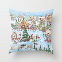 Santa's Christmas Winter Village Throw Pillow