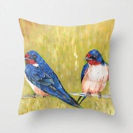 Barn Swallows Throw Pillow